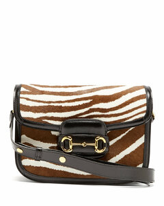 1955 Horsebit zebra-print calf hair & leather bag