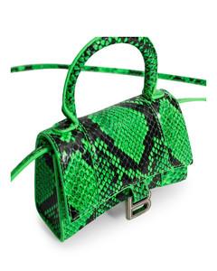 Green embossed crocodile print hourglass mini top handle bag