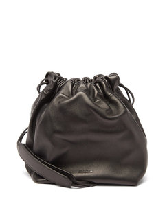 Drawstring mini leather cross-body bag