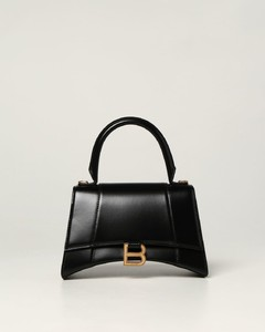 Hourglass top handle bag in smooth leather