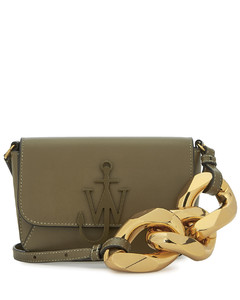 Army green leather cross-body bag