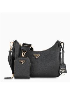 Black saffiano crossbody bag
