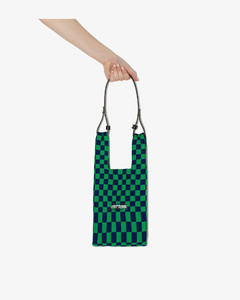 Green And Navy Small Checked Tote Bag