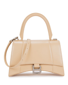 Hourglass blush leather top handle bag