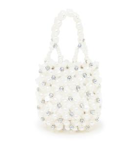 Faux pearl & crystal beaded net bag