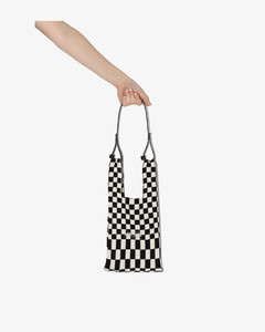 Black And White Small Checked Tote Bag