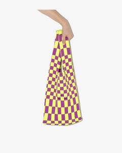 Purple And Yellow Medium Checked Tote Bag