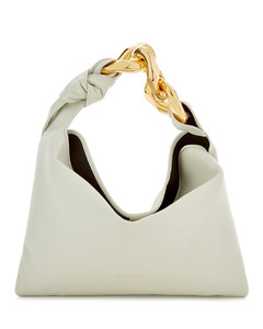 Small chain-embellished leather top handle bag