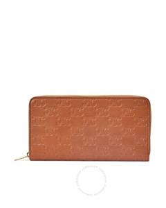 Ladies Embossed Smooth Calfskin Zip Wallet