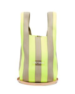 Stripe rib-knitted tote bag