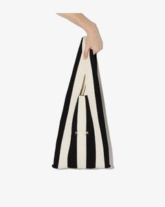 Black And White Medium Striped Tote Bag