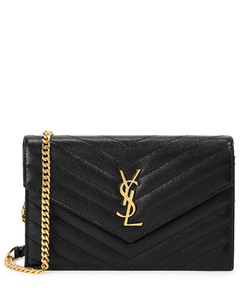 Envelope black leather wallet-on-chain