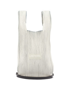 Two Tone small rib-knitted tote bag