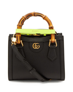 Diana mini bamboo-handle leather tote bag