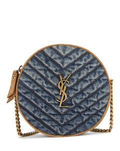 Vinyle blue denim cross-body bag