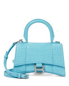 Hourglass XS croc-effect leather tote