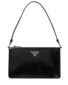 Brushed leather shoulder bag