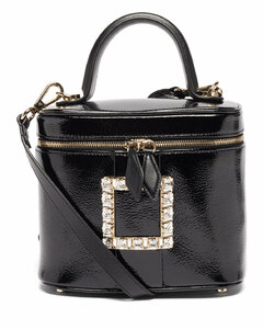 Crystal-buckle patent-leather cross-body bag