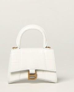Hourglass top handle bag in crocodile print leather