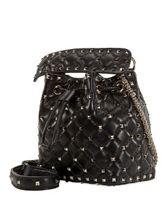 Rockstud Quilted Bucket Bag In Black