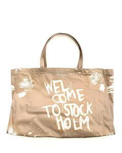 Graffiti shopping bag in beige