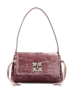Miss Vivier crystal-embellished crushed-velvet bag