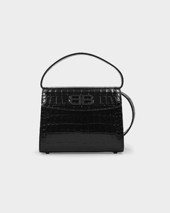 Small Ghost Bag In Black Croc Embossed Leather