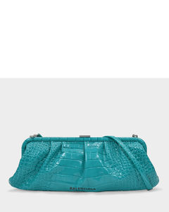 Xl Cloud Clutch In Blue Croc Embossed Leather