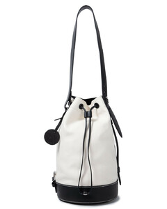 Woman Leather-trimmed Cotton-canvas Bucket Bag