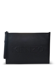 Imprint hammered leather clutch in blac