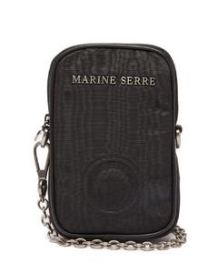 Logo-embossed moirécross-body phone case