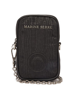 Logo-embossed moirécross-body phone case