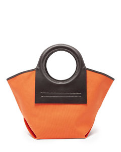 Cala small leather and canvas shoulder bag