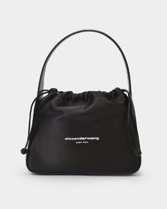 Handbag Ryan in Black Satin and Palmelato Leather
