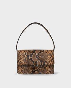 Katalina Bag in Brown Snake-Embossed Leather