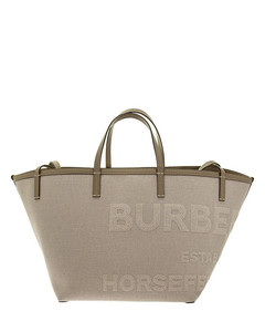 Mini beach tote in cotton and linen canvas with Horseferry lettering