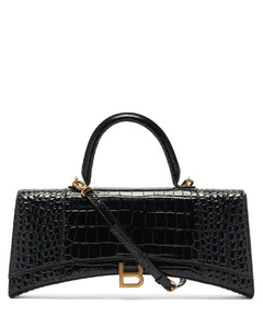 Hourglass Stretch crocodile-effect leather bag