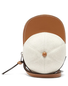 Cap canvas and leather cross-body bag