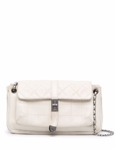 Women's Quilted Chain Cross Body Bag - White
