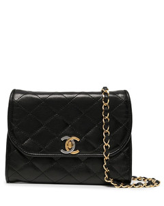 Skull crocodile-effect leather zipped pouch