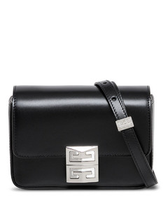 Black Leather Crossbody Bag with Logo Buckle