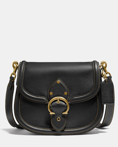 Women's Glovetanned Leather Beat Saddle Bag - Black