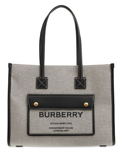 Small Logo Leather & Canvas Tote Bag