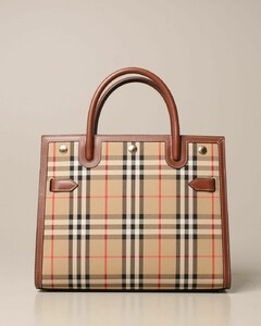 handbag in check fabric and leather