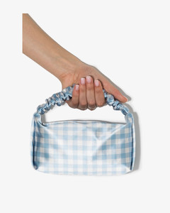 Blue Scrunchie Gingham Print Mini Bag