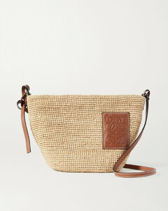 Paula's Ibiza Pochette Leather-trimmed Woven Raffia Shoulder Bag
