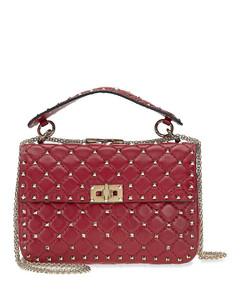 Rockstud Medium Leather Shoulder Bag-Red