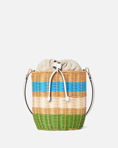 Women's Buoy Wicker Medium Bucket Bag - Green Multi