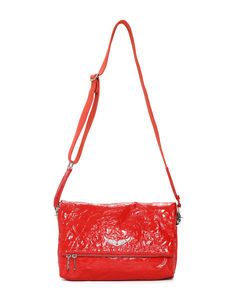 Rock crinkled leather shoulder bag