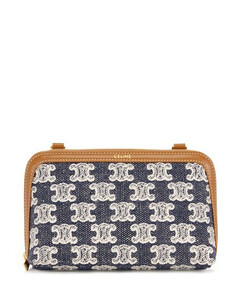 Clutch with Chain in Textile with Triomphe Embroidery